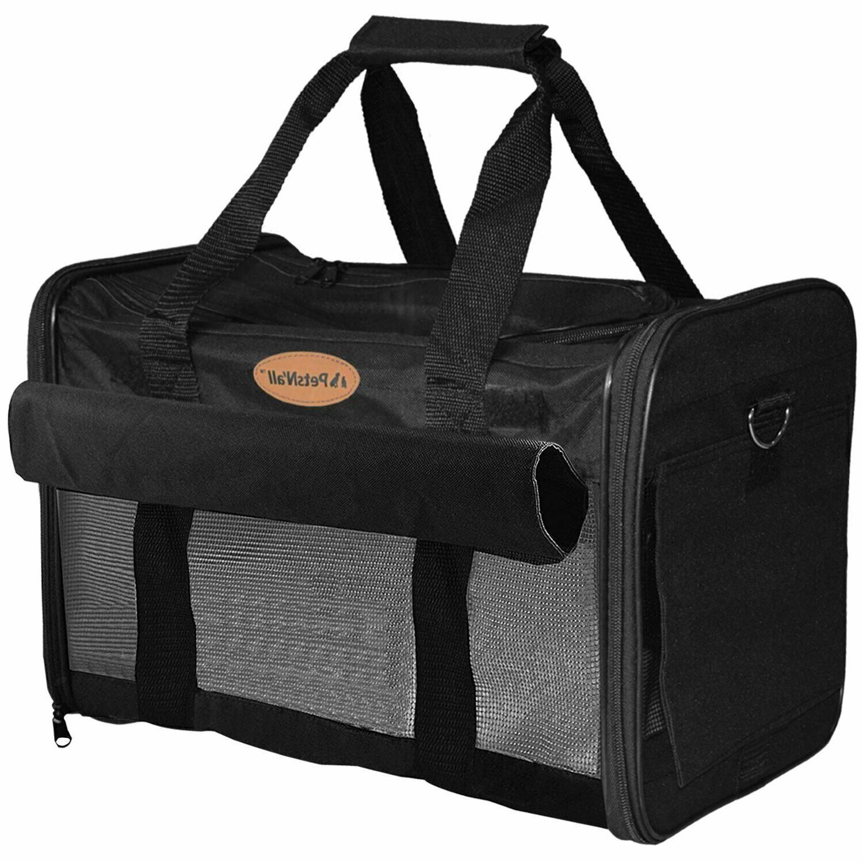 PetsNall ☆ Soft-Sided Pet Carrier Bag Black ☆ Airline Ap