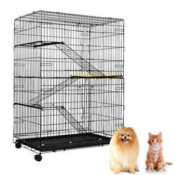 Large Folding Collapsible Pet Cat Wire Cage w/Tray Outdoor C