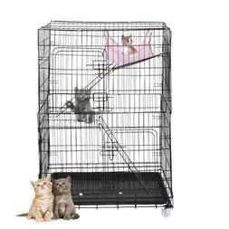 Large Folding Collapsible Pet Cat Wire Cage Indoor Outdoor P