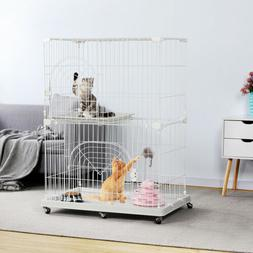 Large Wire Pet Cat Kitten Cage Enclosure Crate Playpen Indoo