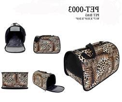 Leopard Designed HardShell Pet Carrier Tote Trip Essentials