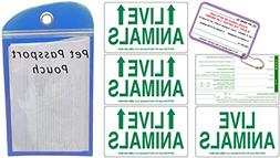 DryFur Live Animal Label Set of 5 w/Pet Passport Pouch Blue