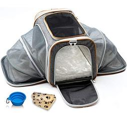 PETYELLA Luxury Pet Carrier + Fleece Blanket & Bowl - Airlin