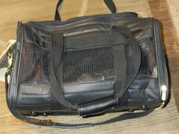 Sherpa Medium Black Cat / Dog / Pet Carrier Soft Sided - Air
