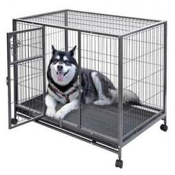 Metal Pet Dog Carrier Cage Crate Kennel Wire Door 44 X 29' P