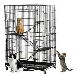New Large Folding Collapsible Pet Cat Wire Cage Indoor Outdo