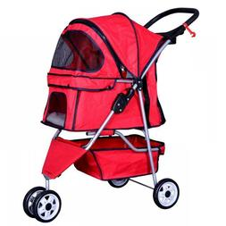 New Red Pet Stroller Cat Dog Cage 3 Wheels Stroller Travel F