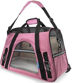 Pet Carrier Soft Sided Large Cat Dog Comfort Rose Wine Pink
