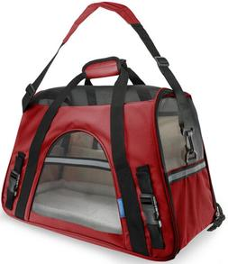 Pet Carrier Soft Sided Large Cat Dog Comfort Crimson Red Tra