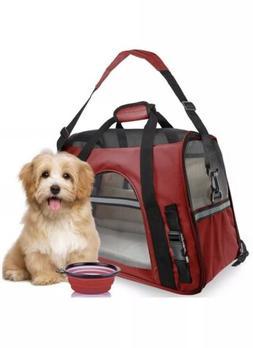 Pet Carrier Soft Sided Large Cat Dog Comfort- Red Travel Bag