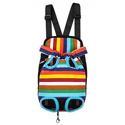 BUYITNOW Pet Front Carrier Backpack Soft Stripe Legs Out Tra