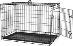 Pet Kennel Cat Dog 1Door w/Divide w/Tray Folding Steel Crate