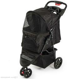 OxGord Pet Stroller Cat Dog 3 Wheel Walk Jogger Travel Foldi