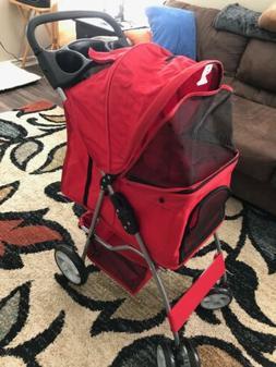 OxGord Pet Stroller Cat / Dog 4 Wheel Easy Walk Roll Travel