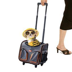 PAWISE Pet Trolley Bag Rolling Pet Travel Carrier Pet Carrie