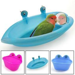 Plastic Birds Parrot Cage Bath Basin Pet Bathtub Carrier Wit