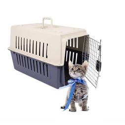 Portable Cat & Dog Plastic Carrier Cage with Chrome Door Cra
