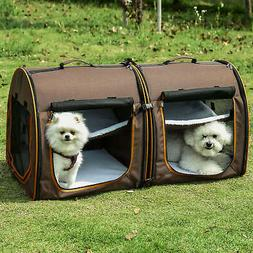 Large Portable Double Dog Cat Pet Carrier Kennel Bag Oxford
