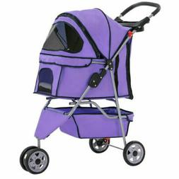 Purple Pet Stroller Cat Dog Cage 3 Wheels Stroller Travel Fo