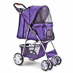 Purple Pet Stroller Cat Dog Cage 4 Wheels Stroller Travel Fo