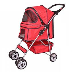 Red 4 Wheels Pet Stroller Cat Dog Cage Stroller Travel Foldi