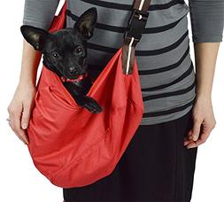 Red Pet Sling Carrier With Shoulder Pad for Small To Medium