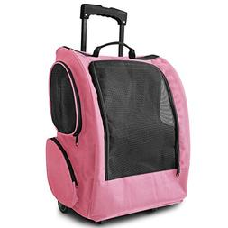 OxGord Rolling Backpack Travel Pet Carrier for Cats Dogs and