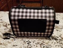"""Small Animal Pet Carrier 12"""" L X 8"""" W X 8"""" H Black and White"""