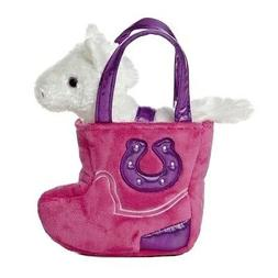 Western Pink Boot Fancy Pal With White Horse - Stuffed Anima