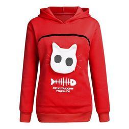 Women's Hoodie Pocket Pet Cat Dog Kangaroo Holder Carrier Co