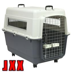 XXL Travel Crate Plastic Dog Kennel Pet Deluxe Carrier Wheel
