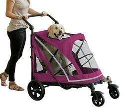Pet Gear NO-Zip Stroller, Push Button Zipperless Dual Entry,
